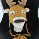 DEER HAT pilot cap dear / elk / caribou KNIT SKI CAP santa reindeer Halloween COSTUME