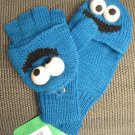 Adult COOKIE MONSTER MITTENS texting finger gloves blue KNIT 1 size deLux  muppet SESAME STREET