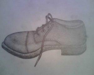 Pencil drawing of shoe By: Steve Higgins