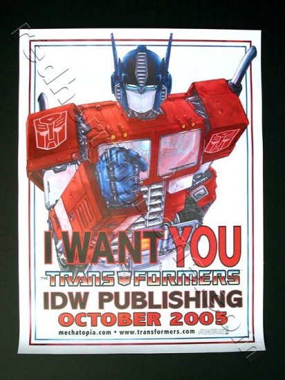 "Transformers ""I WANT YOU"" Promo Poster featuring Optimus Prime IDW Publishing NEW"
