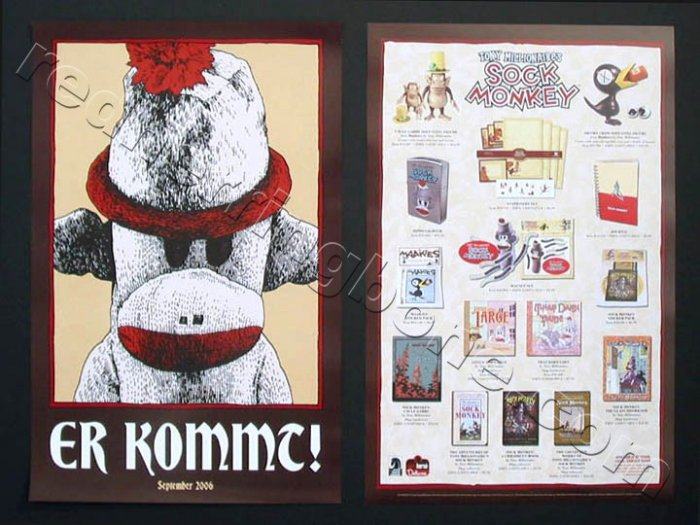 "Sock Monkey double-sided Promo Poster (Tony Millionaire) 11""x17"" NEW"