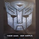 "Transformers Promo Movie Teaser Poster ""Their War. Our World."" Autobot NEW"