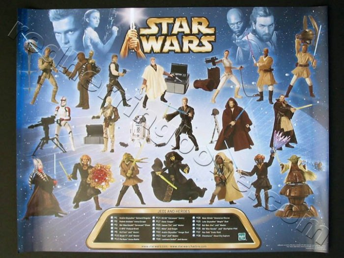 "Star Wars ""Jedi and Heroes"" Hasbro action figures Promo Poster NEW"