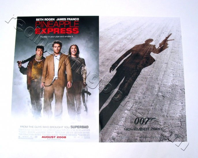 Pineapple Express & Quantum Of Solace (James Bond) Mini Movie Posters SET OF 2 NEW