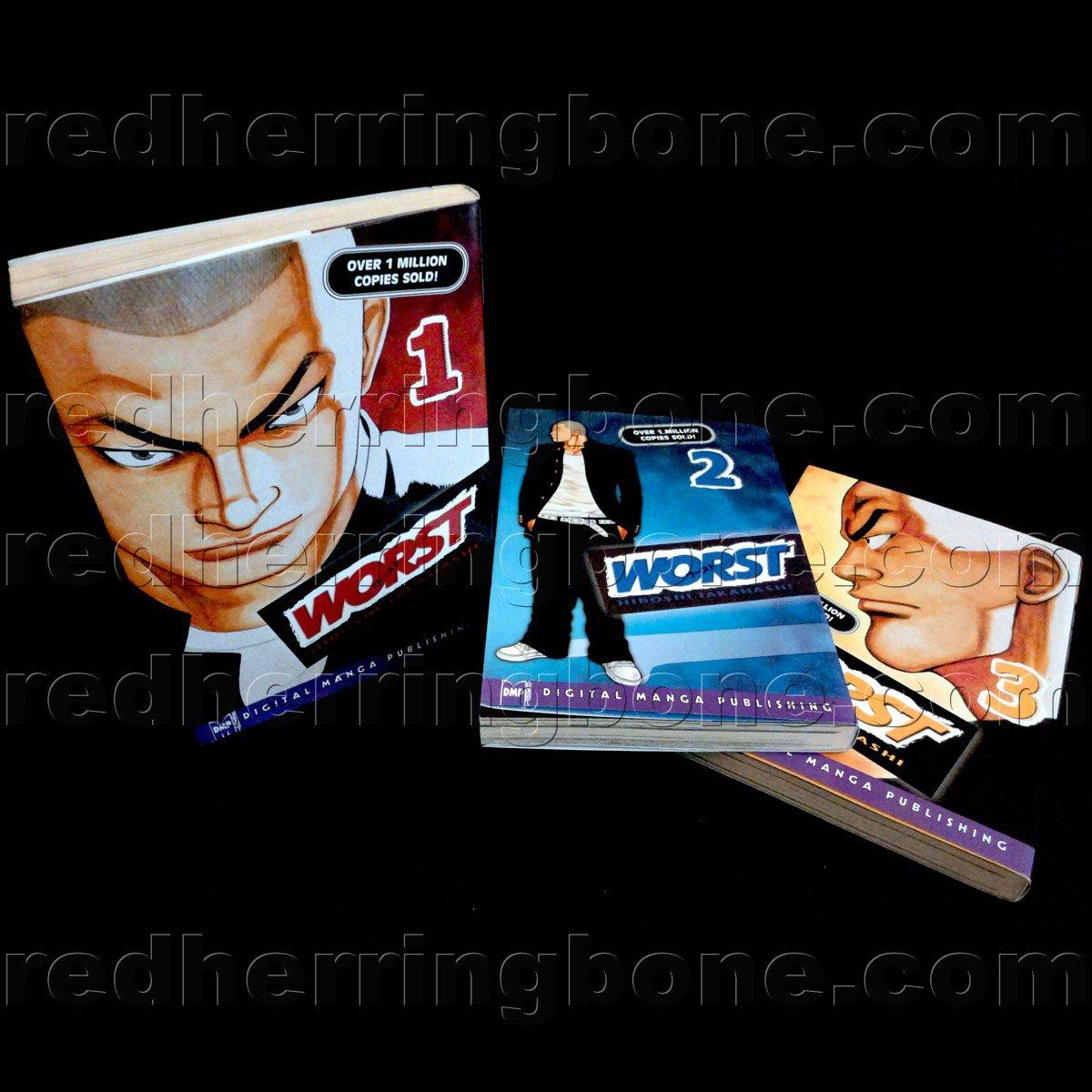Worst, Vol. 1-3 Manga (set includes Volume 1, 2, and 3) Hiroshi Takahashi
