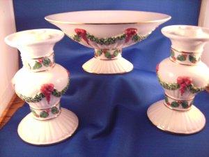 3 Pc. International Silver Co. Ceramic Christmas Set