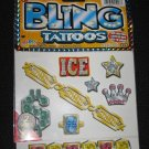 BLING Temporary TATTOOS 14-Pieces Crowns Diamonds Money Jewels Skull