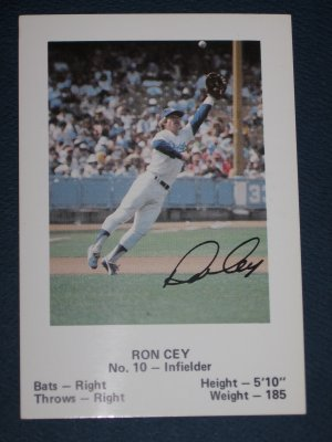 Dodgers RON CEY #10 Infielder Baseball TRADING CARD Los Angeles Police Department
