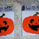 Set of 2 PUMPKIN Jack O' Lantern Iron-On PATCHS Embroidered HALLOWEEN Applique NEW