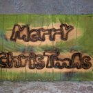 Rustic Americana Merry Christmas Barn Wood Box Caddy with Rope Handles - NEW