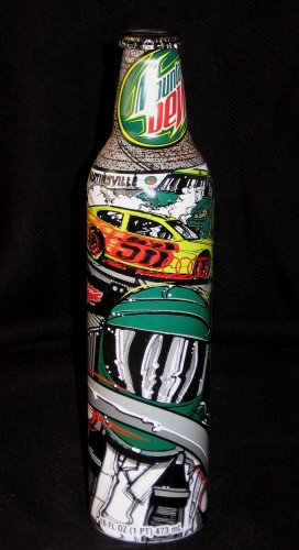 Mountain Dew Nascar Sam Bass Martinsville Green Label Art Aluminum Bottle NEW Full Unopened