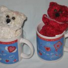 Set of 2 Valentine's Day Mugs with Plush Stuffed Teddy Bears NEW