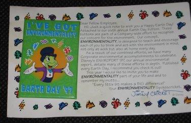 Disneys Jiminy Cricket Earth Day I've Got Environmentality 97 Cast Pin RARE NEW