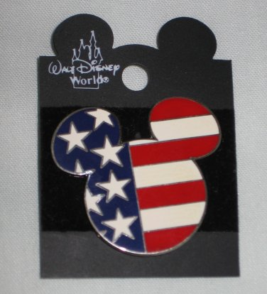 Disney Patriotic Mickey Mouse Head American Flag 2002 Large Trading Pin 23783 Post 9/11 RARE NEW