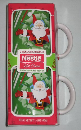 Set of 2 Santa Mugs with Nestle Hot Cocoa Christmas Holiday Gift Pack NEW