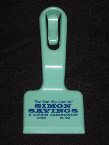 Simon Savings and Loan Association Ice Scraper with Hang Clip Collectible Advertisement Item