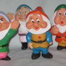 Vintage 1970s Walt Disneys Snow White Dwarfs Rubber Squeaky Set of 6 Toys
