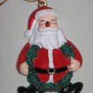 Handpainted Santa Claus with Holly Wreath Christmas Tree Ornament