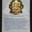 1987 LA Dodgers Unocal 76 Pin 4 Seven Pennants in 25 Years with Card