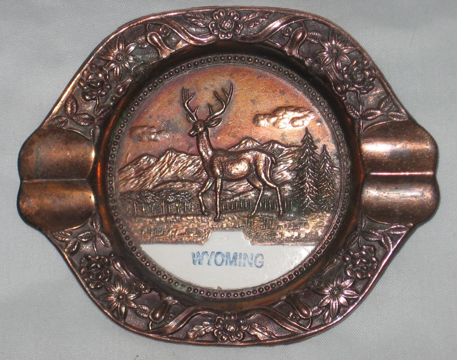 Vintage WYOMING Souvenir Metal Ashtray with Deer Buck Made in Japan