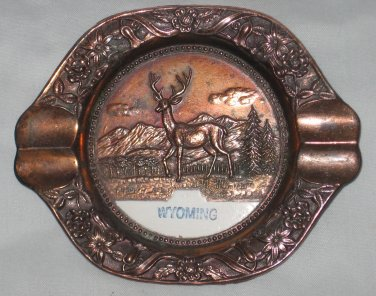 Vintage WYOMING Souvenir Metal Ashtray with Deer Buck Made in Japan