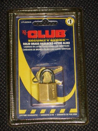 THE CLUB Security Series Solid Brass Padlock Keyed Alike UTL825KA - NEW