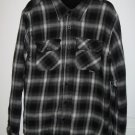 Rusty Black Silver Plaid Flannel Shirt Jacket with Fleece Lining Mens Size Small S