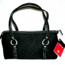 Talbots Contemporary Black Signature Fabric Handbag Tote Purse with Metal Button Feet NEW
