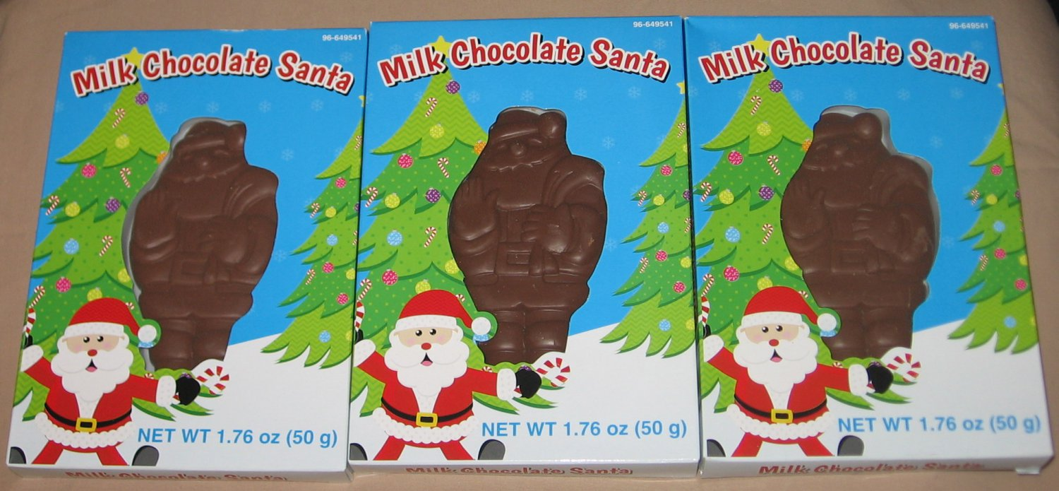Milk Chocolate Santa Claus Candy in Christmas Holiday Boxes Lot of 3