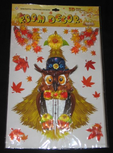 Autumn Fall Leaves Owl 3D Foam Dimensional Puffy Stickers Room Decoration Classroom ISY-007 NEW