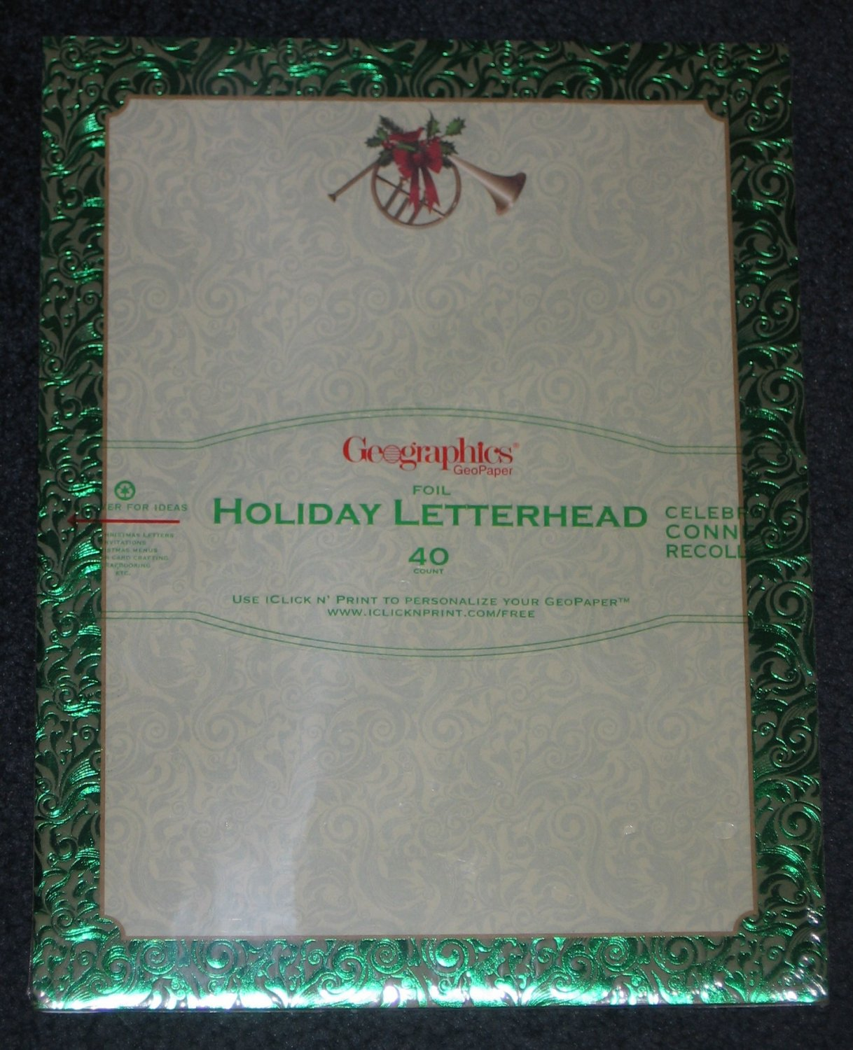 GREEN FRENCH HORN Holiday Foil Letterhead Scrapbook Paper Stationery 40 Count Geographics NEW