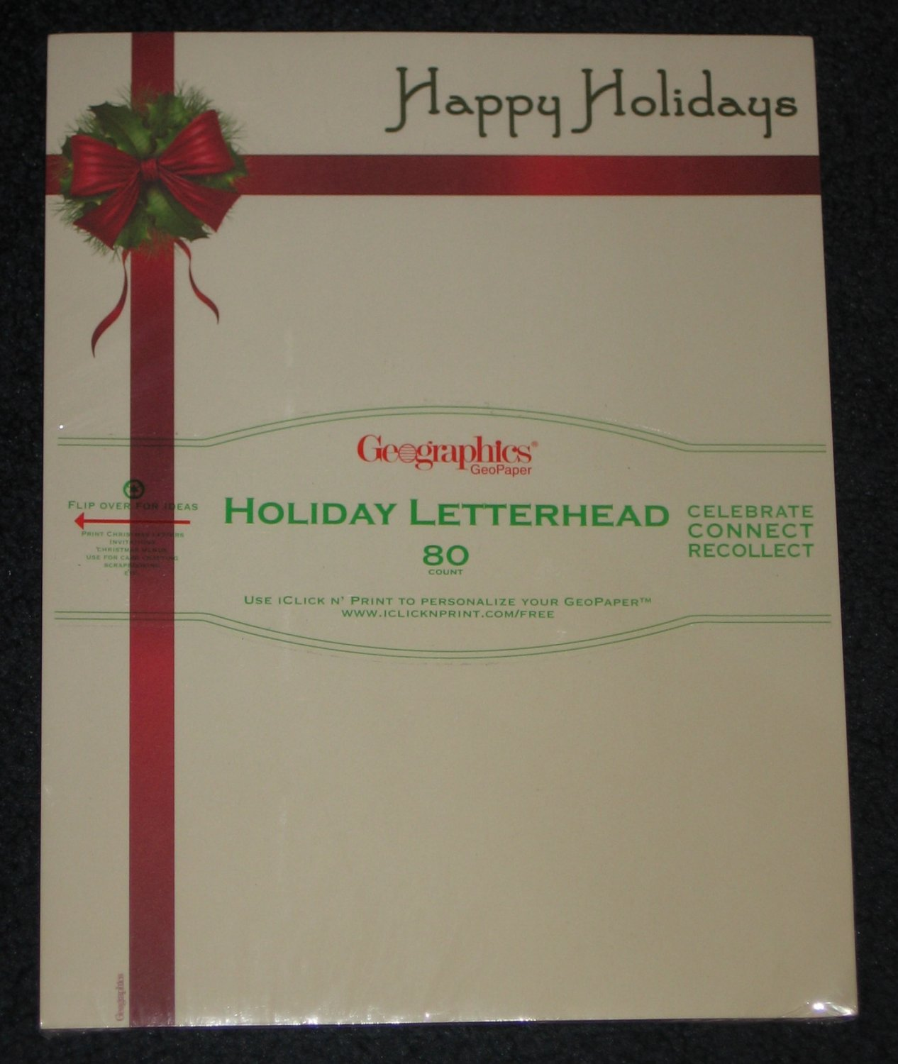 HAPPY HOLIDAYS Geographics Letterhead Invitations Scrapbooking Paper Stationery 80 Count NEW