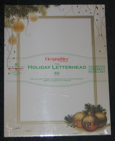 Ornaments Streamers Holiday Foil Letterhead Scrapbook Paper Stationery Invitations 40 Ct Geographics