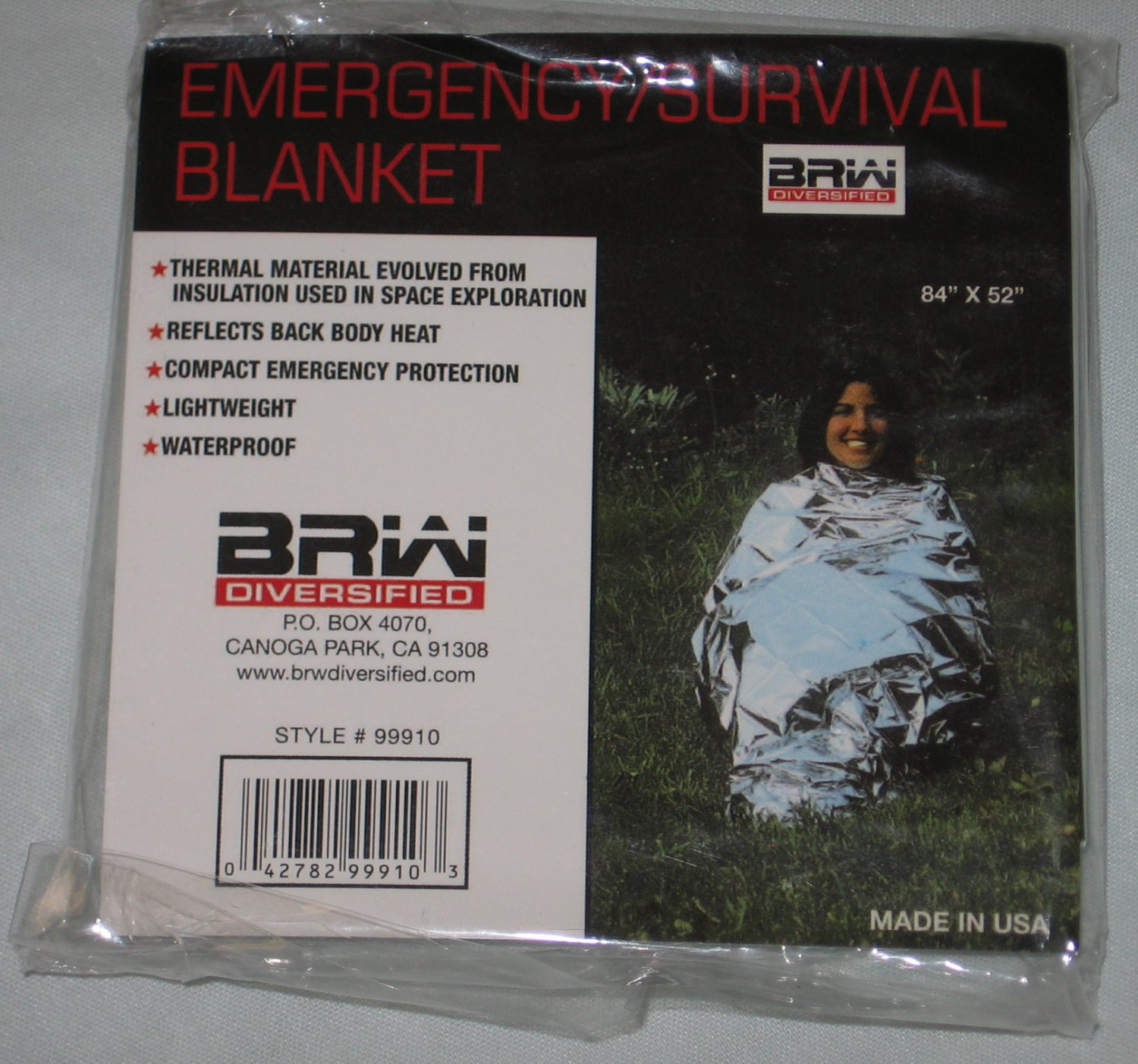 Emergency Survival Blanket Thermal Insulation Waterproof Compact Hiking Camping BRW Diversified