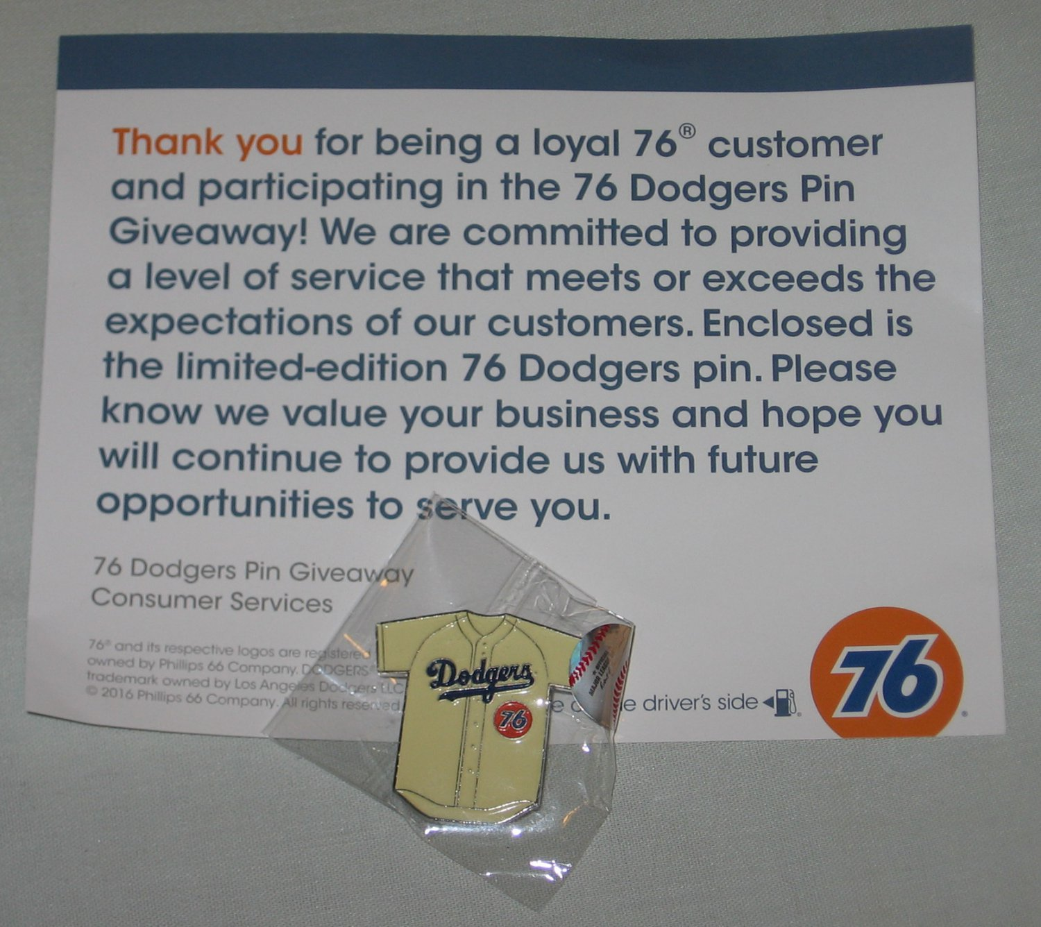 Limited Edition 2016 Unocal 76 Los Angeles Dodgers Jersey Pin + Card Promo Giveaway NEW