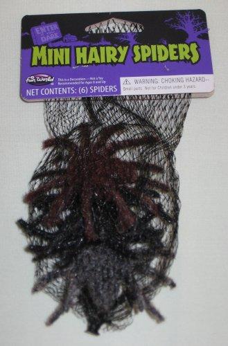 Set of 6 Mini Hairy Spiders Halloween Decoration Item 91074MBKR Fun World NEW