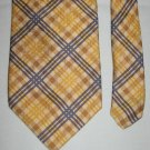 CARROT & GIBBS Mens Plaid Silk Tie Necktie Brown Yellow Blue