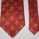 UOMO VENETTO Mens Silk Tie Necktie Red Orange Brown Geometric Design