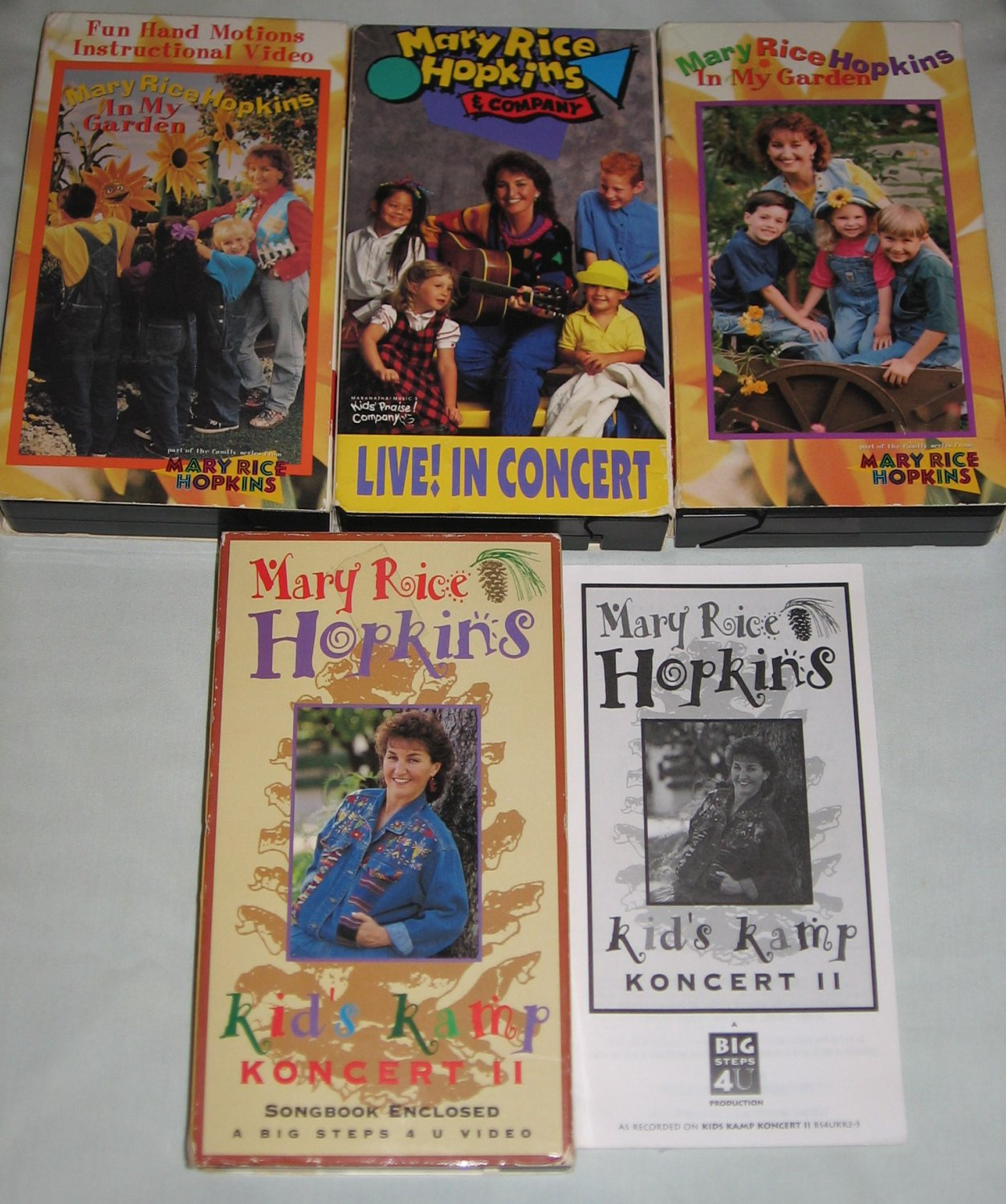 Lot of 4 VHS Mary Rice Hopkins In My Garden, Kids Kamp Koncert + Songbook Fun Hand Motions ++