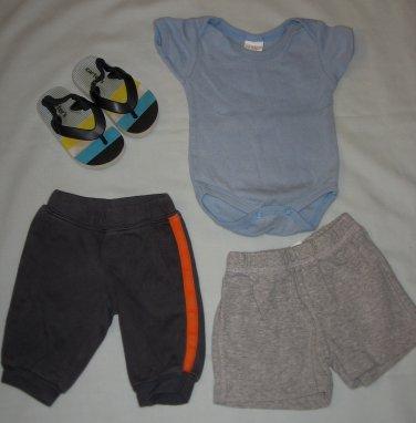 Lot of 4 Carters Sandals One-Piece Shorts Pants Infant Boys Size NB 3 - 6 Months