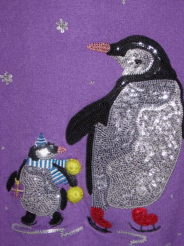 Marks Spencer M S Kids Skating Penguins Purple Sequins Sweater Girls Size 6 - 7 years