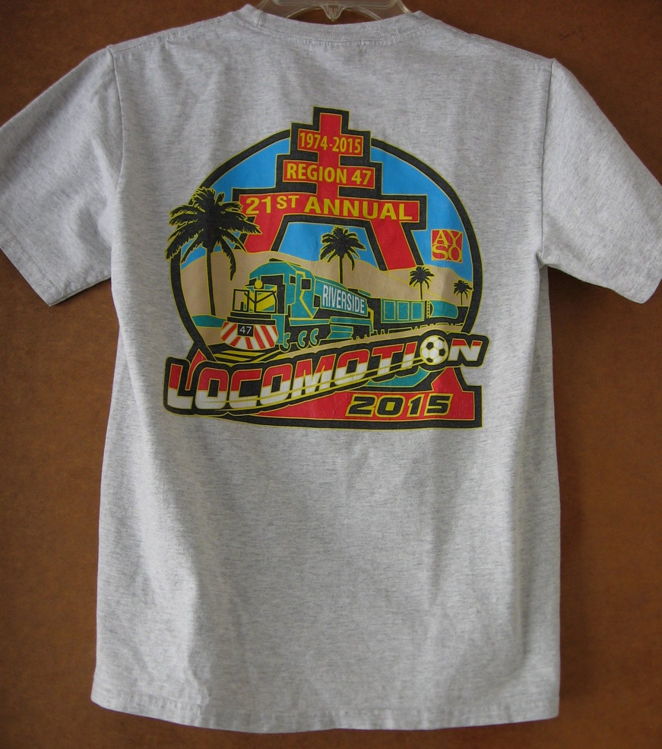 AYSO Locomotion 2015 21st Annual Region 47 Riverside T-Shirt Youth Large 14 - 16