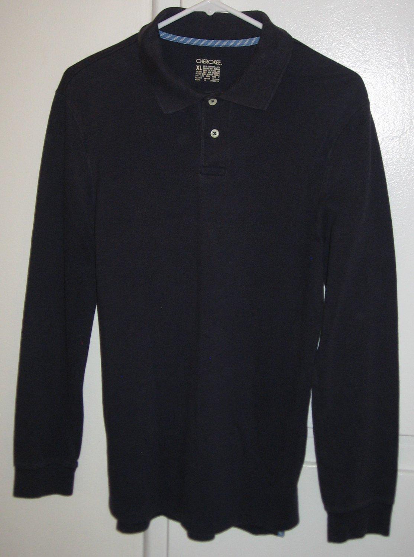 Cherokee Long Sleeve Dark Blue Polo Shirt Boys Youth Size XL