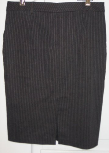 Hailee Charcoal Gray Pinstriped Straight Skirt Womens Size Large L Side Pockets Belt Loops