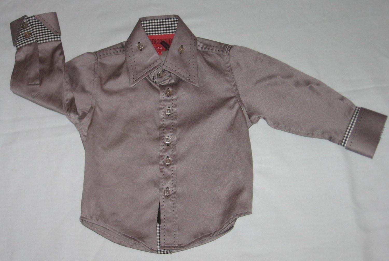 Patroncito USA Western Cowboy Button Down Shimmery Gray Dress Shirt Boys Size 2