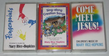 Lot of 3 Mary Rice Hopkins Cassettes Sing Along Songs Fingerprints Come Meet Jesus Bible Music