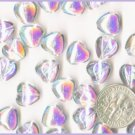 50 AB Crystal Czech Glass Puff Heart Beads - 10mm
