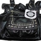 Kathy Van Zeeland FLASHING LIGHTS Black Belt Shopper Bag Purse NWT