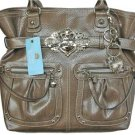 Kathy Van Zeeland Brass Patent Pending North South N/S Belt Shopper Bag
