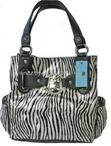 Kathy Van Zeeland ZEBRA Black White LIMELIGHT Tote Bag